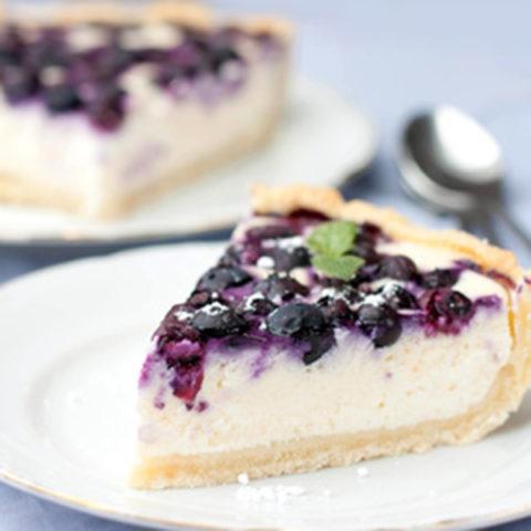 duftlys med cheesecake og blåbær